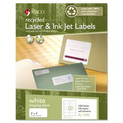 Maco Recycled Laser and InkJet Labels, 8-1/2 x 11, White, 100/Box