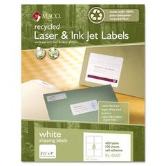 Maco Recycled Laser and InkJet Labels, 3-1/3 x 4, White, 600/Box