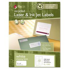 Maco Recycled Laser and InkJet Labels, 2 x 4, White, 1000/Box