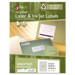 Maco Recycled Laser and InkJet Labels, 2/3 x 3 7/16, Assorted, 750/Pack