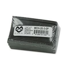 Magnetic Card Holders, 3 x 1 3/4, Charcoal, 10/Pack