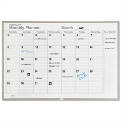 Magna Visual Monthly Planning Board, Porcelain-on-Steel, 48 x 36, Gray