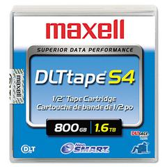 "Maxell 1/2"" DLT-S4 Cartridge, 2066ft, 800GB Native/1.6TB Compressed Capacity"
