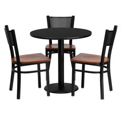 Flash Furniture 30'' Round Black Laminate Table Set with 3 Grid Back Metal Chairs - Cherry Wood Seat