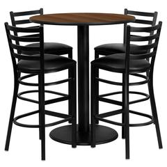 36'' Round Walnut Laminate Table Set with 4 Ladder Back Metal Barstools - Black Vinyl Seat