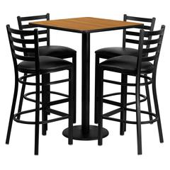 Flash Furniture 30'' Square Natural Laminate Table Set with 4 Ladder Back Metal Barstools - Black Vinyl Seat