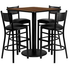 36'' Square Walnut Laminate Table Set with 4 Grid Back Metal Barstools - Black Vinyl Seat