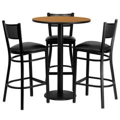 Flash Furniture 30'' Round Natural Laminate Table Set with 3 Grid Back Metal Barstools - Black Vinyl Seat