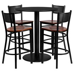 Flash Furniture 36'' Round Black Laminate Table Set with 4 Grid Back Metal Barstools - Cherry Wood Seat