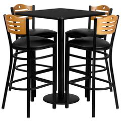 30'' Square Black Laminate Table Set with 4 Wood Slat Back Metal Barstools - Black Vinyl Seat