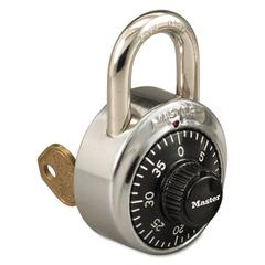 "Combination Stainless Steel Padlock w/Key Cylinder, 1-7/8"" Wide, Black/Silver"