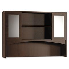 Brighton Series Double-Height Glass Door Hutch, 72w x 15d x 50-1/2h, Mocha
