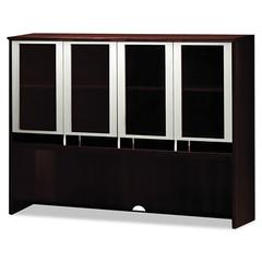 Napoli Series Assmbld Hutch with Glass Doors, 63w x 15d x 50-1/2h, Mahogany