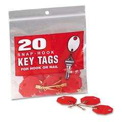 "Industries Snap-Hook Self-Locking Octagonal Plastid Key Tags, 1 1/4"" Diameter, Red, 20/Pack"