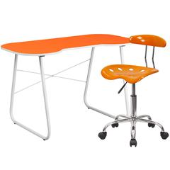 Flash Furniture Orange Computer Desk and Tractor Chair