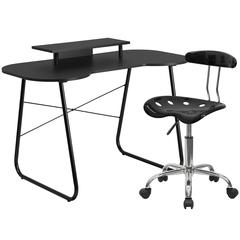 Flash Furniture Black Computer Desk with Monitor Platform and Tractor Chair