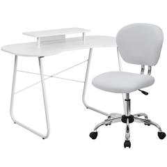 Flash Furniture White Computer Desk with Monitor Platform and Mesh Chair