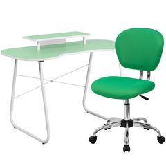 Flash Furniture Green Computer Desk with Monitor Platform and Mesh Chair