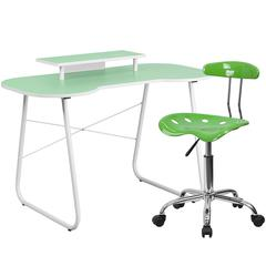 Flash Furniture Green Computer Desk with Monitor Platform and Tractor Chair