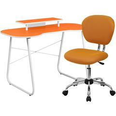 Flash Furniture Orange Computer Desk with Monitor Platform and Mesh Chair