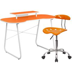 Flash Furniture Orange Computer Desk with Monitor Platform and Tractor Chair