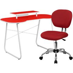 Flash Furniture Red Computer Desk with Monitor Platform and Mesh Chair