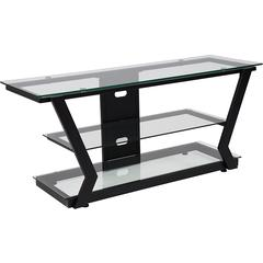 Harbor Hills Glass TV Stand with Black Metal Frame