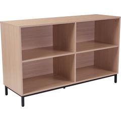 "Dudley 4 Shelf 29.5""H Open Bookcase Storage in Oak Wood Grain Finish"