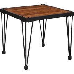 Baldwin Collection Rustic Walnut Burl Wood Grain Finish Side Table with Black Metal Legs