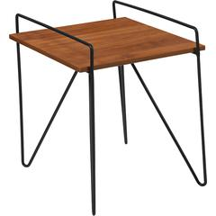 Porter Collection Cherry Wood Grain Finish Side Table with Black Metal Legs