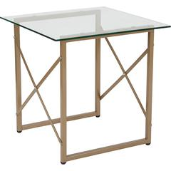 Mar Vista Collection Glass Side Table with Matte Gold Frame