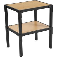 Holmby Collection Knotted Pine Wood Grain Finish Side Table with Black Metal Legs