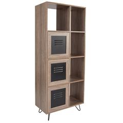 "Woodridge Collection 63""H 5 Cube Storage Organizer Bookcase with Metal Cabinet Doors in Rustic Wood Grain Finish"