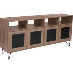 "85.5""W 4 Shelf Storage Console/Cabinet-Metal Doors in Rustic Wood Grain Finish"