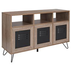 "44""W 3 Shelf Storage Console/Cabinet-Metal Doors in Rustic Wood Grain Finish"