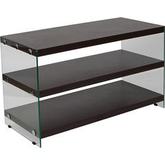 Wynwood Dark Ash Wood Grain Finish TV Stand with Shelves and Glass Frame