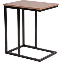 Aurora Rustic Wood Grain Finish Side Table with Black Metal Cantilever Base