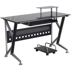 Flash Furniture Black Glass Computer Desk with Pull-Out Keyboard Tray and CPU Cart