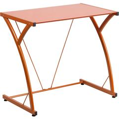 Flash Furniture Contemporary Tempered Orange Glass Computer Desk with Matching Frame