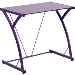 Contemporary Tempered Purple Glass Computer Desk with Matching Frame