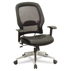 Air Grid Series Professional High-Back Chair, Leather Upholstery, Black/Chrome