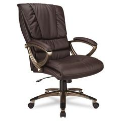 Office Star Eco Leather High-Back Executive Swivel/Tilt Chair, Espresso/Cocoa
