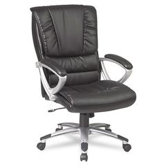 Office Star Eco Leather High-Back Executive Swivel/Tilt Chair, Black/Silver