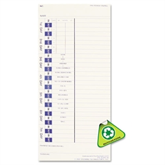 Time Card for Models 3500 and 3700, Weekly, 4 x 9, 100/Pack