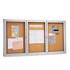 Enclosed Bulletin Board, Natural Cork/Fiberboard, 72 x 36, Silver Aluminum Frame