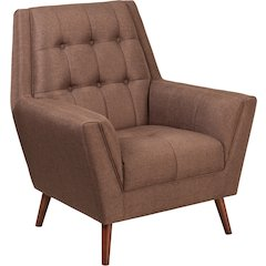HERCULES Kensington Series Contemporary Brown Fabric Tufted Arm Chair