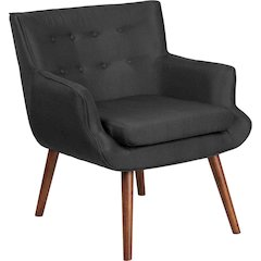 HERCULES Hayes Series Black Fabric Tufted Arm Chair
