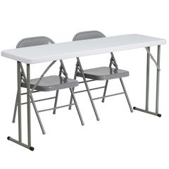 Flash Furniture 18'' x 60'' Plastic Folding Training Table with 2 Gray Metal Folding Chairs