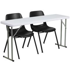 18'' x 60'' Plastic Folding Training Table Set with 2 Black Plastic Stack Chairs