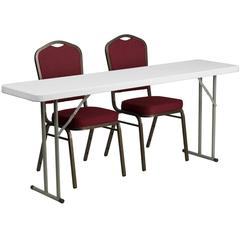 18'' x 72'' Plastic Folding Training Table with 2 Crown Back Stack Chairs